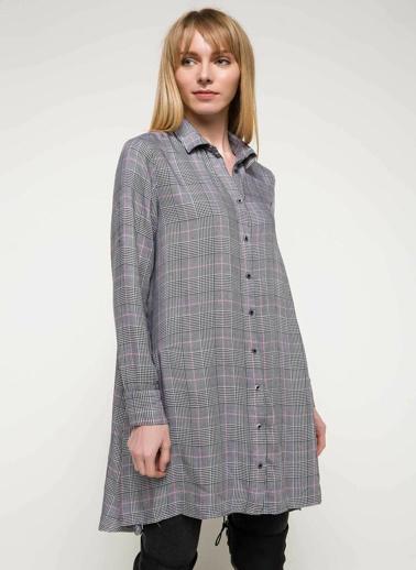DeFacto Kareli Gömlek Elbise Siyah